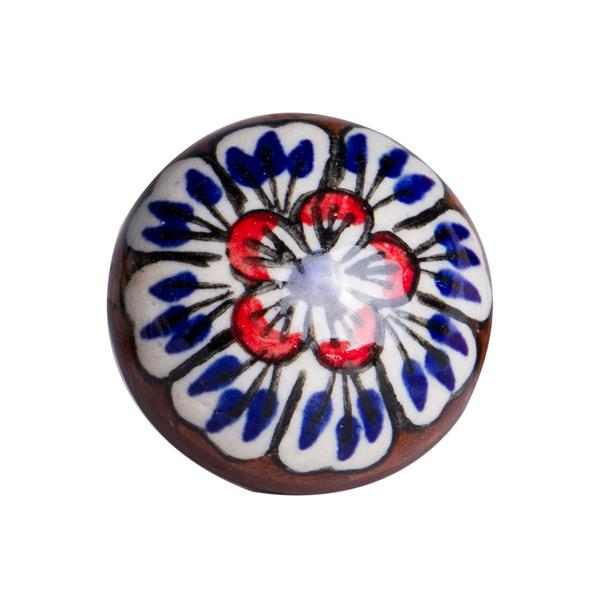 Natural by Lifestyle Brands Handpainted White/Blue/Brown/Red Ceramic Knobs (12 Pack)