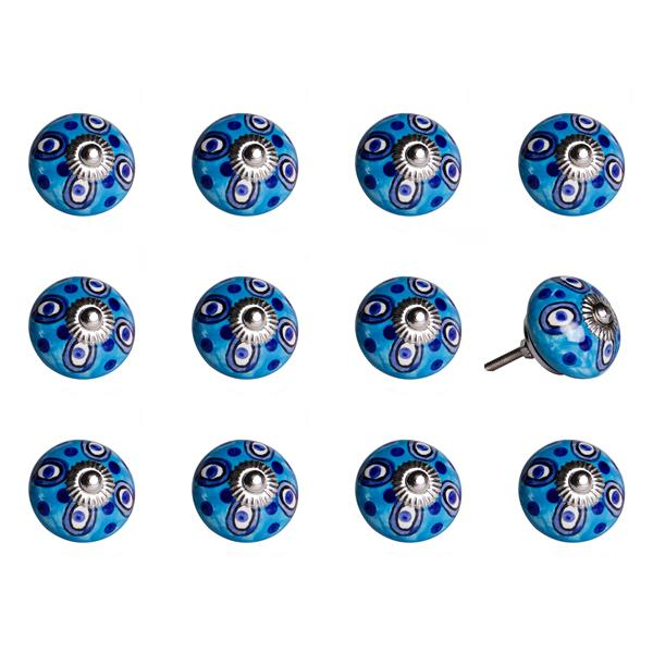 Natural by Lifestyle Brands Handpainted White/Light Blue/Navy Ceramic Knobs (12 Pack)