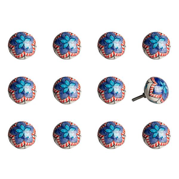 Natural by Lifestyle Brands Handpainted White/Blue/Orange/White Ceramic Knobs (12 Pack)