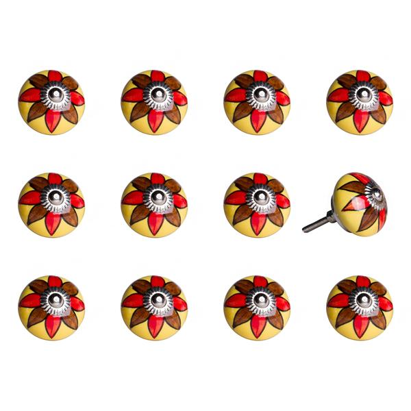 Natural by Lifestyle Brands Handpainted Yellow/Brown/Red Ceramic Knobs (12 Pack)