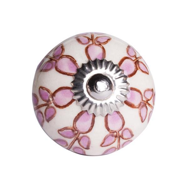 Poignées peintes à la main en céramique, 12 pqt, rose