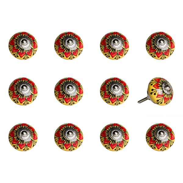 Natural by Lifestyle Brands Handpainted Orange/Yellow/Black Ceramic Knobs (12 Pack)