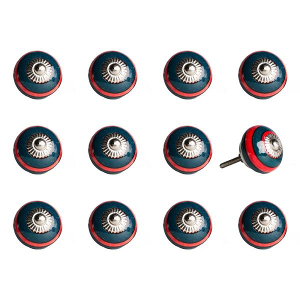 Natural by Lifestyle Brands Handpainted Navy/Red Ceramic Knobs (12 Pack)