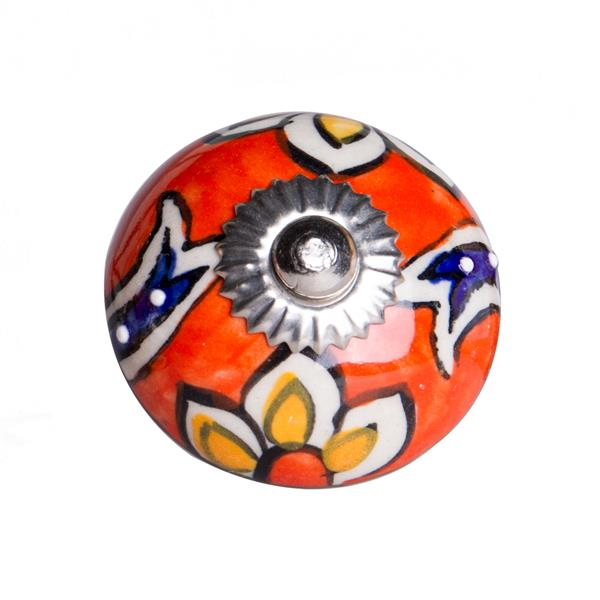 Poignées peintes à la main en céramique, 12 pqt, orange