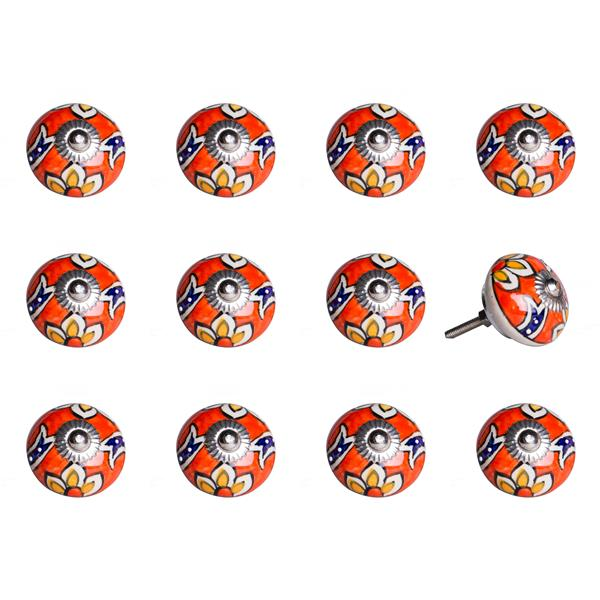 Natural by Lifestyle Brands Handpainted Orange/Yellow/Blue Ceramic Knobs (12 Pack)
