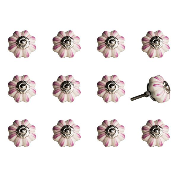 Natural by Lifestyle Brands Handpainted Pink/White/Silver Ceramic Knobs (12 Pack)