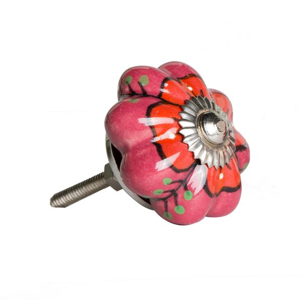 Natural by Lifestyle Brands Handpainted Pink/Red Ceramic Knobs (12 Pack)