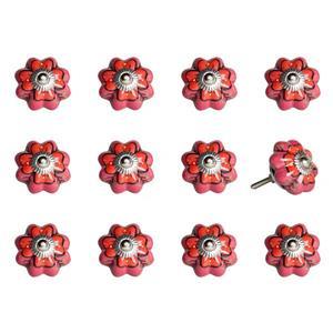 Poignées peintes à la main en céramique, 12 pqt, rose/rouge