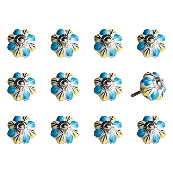 Natural by Lifestyle Brands Handpainted White/Blue/Yellow Ceramic Knobs (12 Pack)