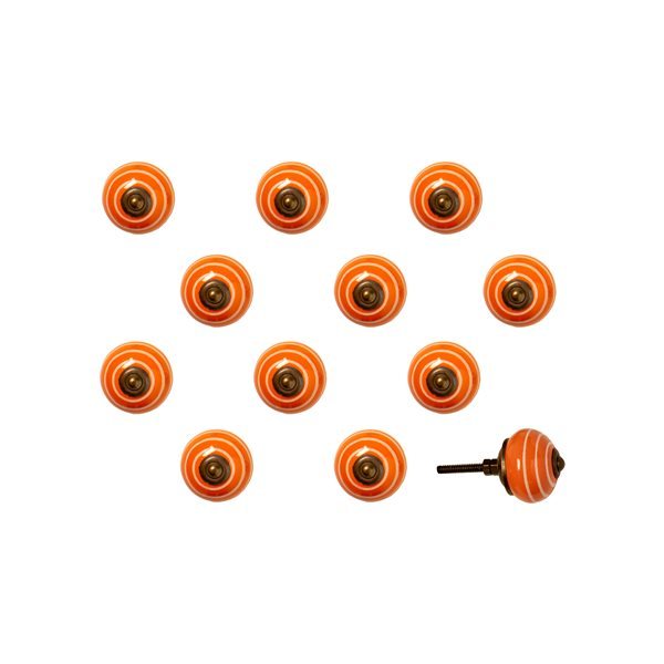 Natural by Lifestyle Brands Handpainted Orange/White/Copper Ceramic Knobs (12 Pack)
