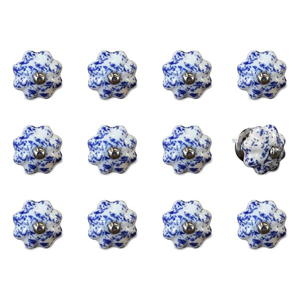 Natural by Lifestyle Brands Handpainted Blue/White Ceramic Knobs (12 Pack)