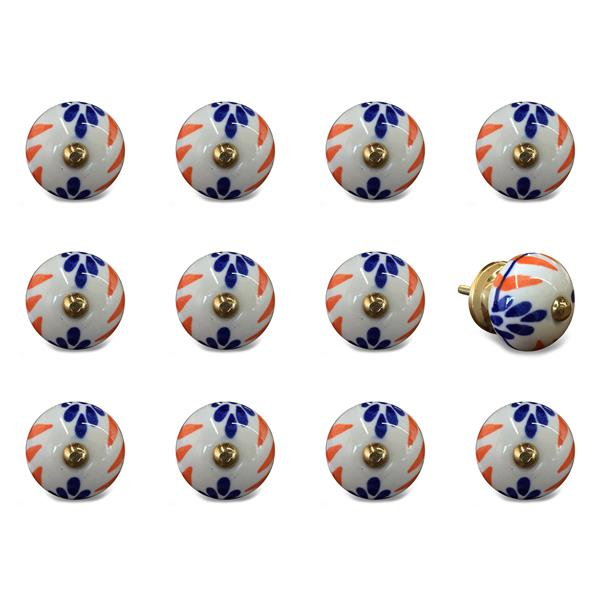 Natural by Lifestyle Brands Handpainted Orange/Blue/White Ceramic Knobs (12 Pack)