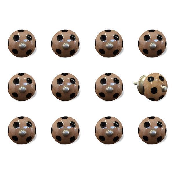 Natural by Lifestyle Brands Handpainted Brown/Black Ceramic Knobs (12 Pack)