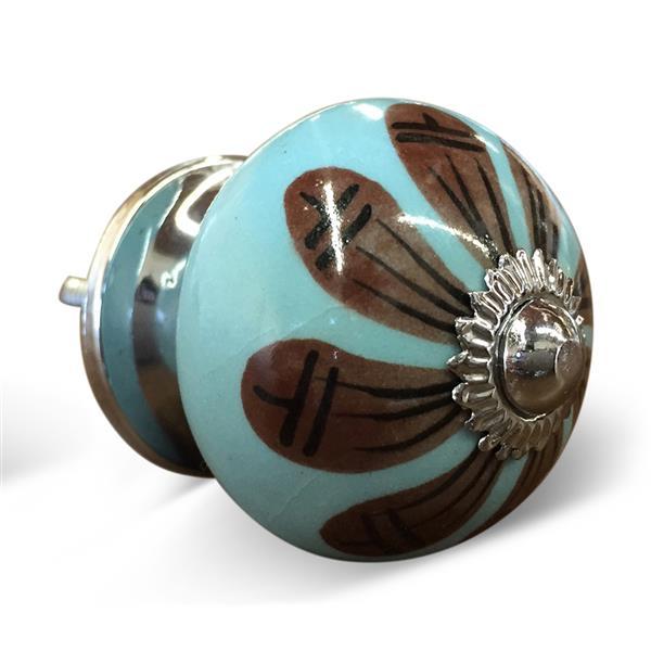 Natural by Lifestyle Brands Handpainted Blue/Brown/Black Ceramic Knobs (12 Pack)