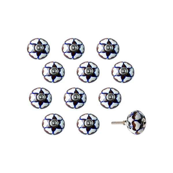 Natural by Lifestyle Brands Handpainted Cream/Brown/Blue Ceramic Knobs (12 Pack)