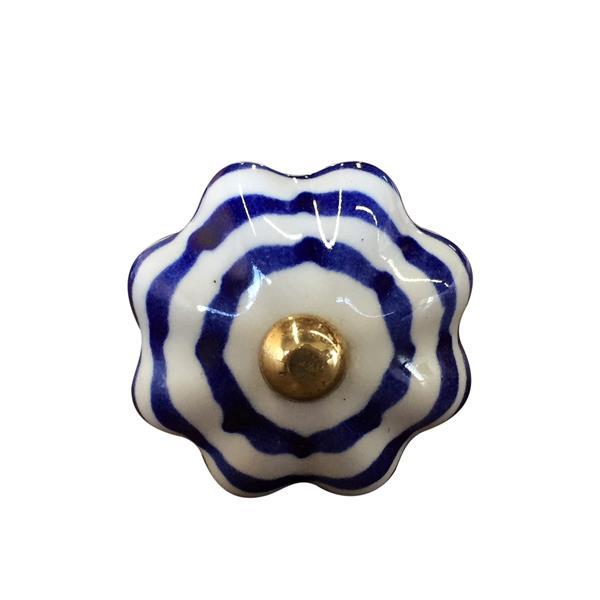 Poignées peintes à la main en céramique, 12 pqt, bleu/blanc