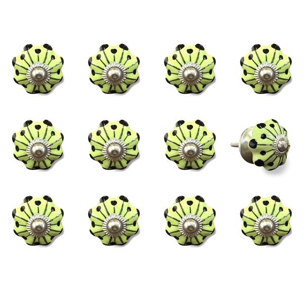 Natural by Lifestyle Brands Handpainted Yellow/Black/Silver Ceramic Knobs (12 Pack)