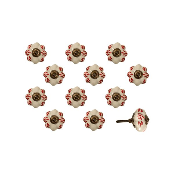 Natural by Lifestyle Brands Handpainted White/Burgundy/Copper Ceramic Knobs (12 Pack)