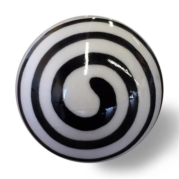 Natural by Lifestyle Brands Handpainted Black/White Ceramic Knobs (12 Pack)