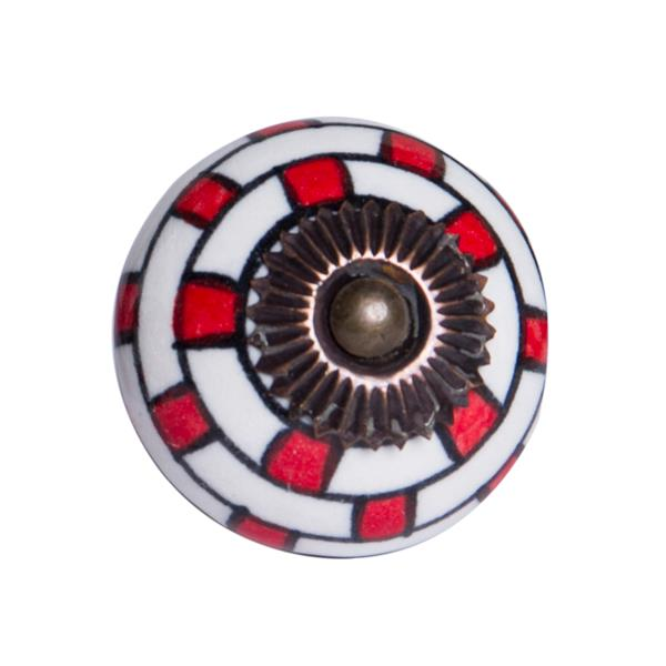 Poignées peintes à la main en céramique, 12 pqt, blanc/rouge
