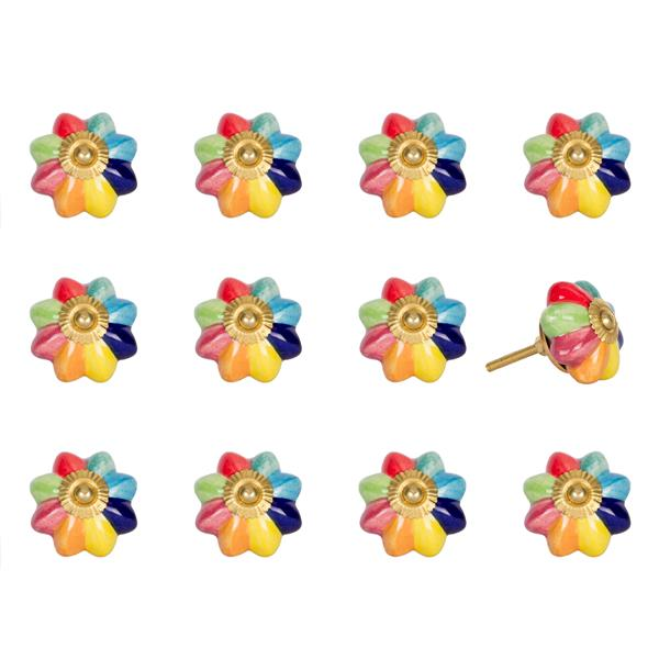 Natural by Lifestyle Brands Handpainted Green/Blue/Red/Yellow Ceramic Knobs (12 Pack)