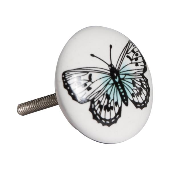 Natural by Lifestyle Brands Handpainted White/Black/Blue Butterfly Motif Ceramic Knobs (12 Pack)