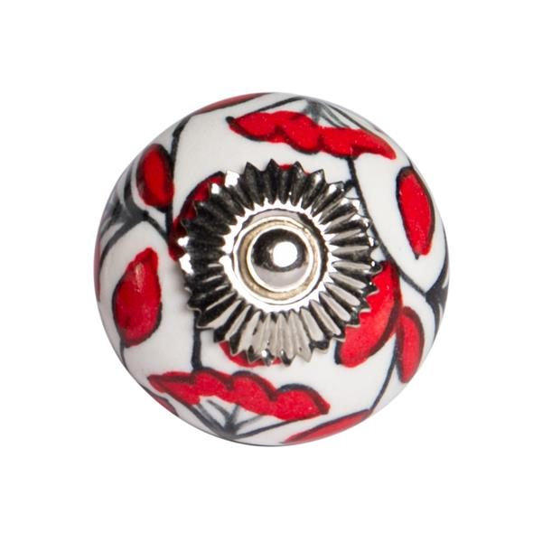 Natural by Lifestyle Brands Handpainted White/Red/Black Ceramic Knobs (12 Pack)