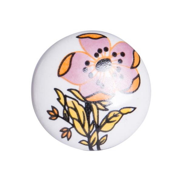 Natural by Lifestyle Brands Handpainted White/Yellow/Pink Floral Motif Ceramic Knobs (12 Pack)