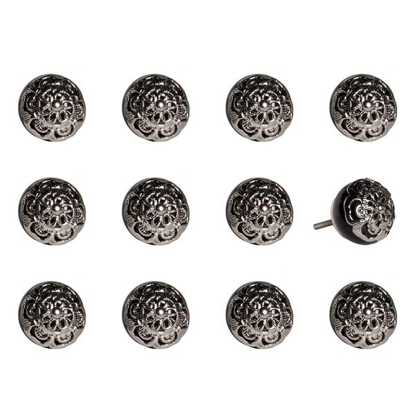 Natural by Lifestyle Brands Handpainted Black/Chrome Ceramic Knobs (12 Pack)