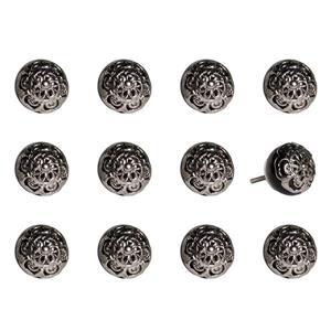 Poignées peinte à la main en céramique, 12 pqt, noir/chrome