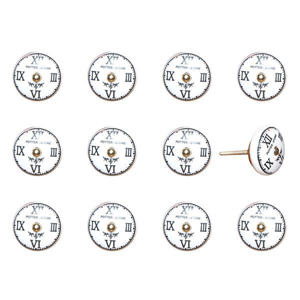 Natural by Lifestyle Brands Handpainted Ceramic Knobs 12 PK - White/Black/Gold
