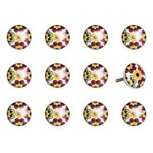 Poignées peinte à la main en céramique, 12 pqt, multicolore