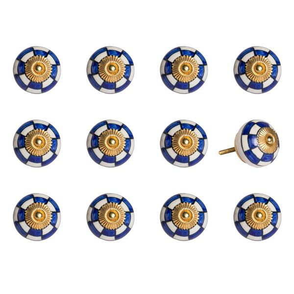 Natural by Lifestyle Brands Handpainted White/Blue/Gold Ceramic Knobs (12 Pack)