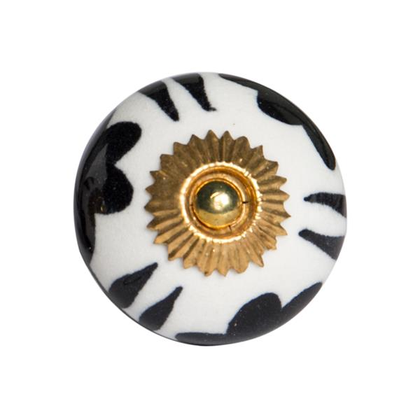 Natural by Lifestyle Brands Handpainted Blue/Yellow/Black Ceramic Knobs (12 Pack)