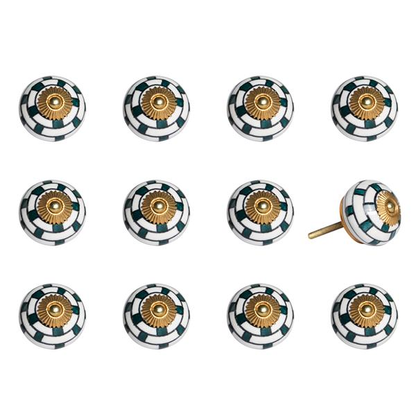 Natural by Lifestyle Brands Handpainted White/Teal/Gold Ceramic Knobs (12 Pack)