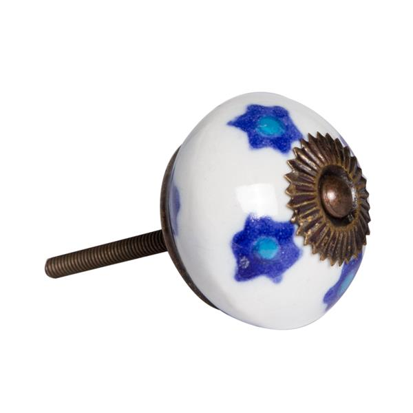 Natural by Lifestyle Brands Handpainted White/Blue/Turquoise Ceramic Knobs (12 Pack)