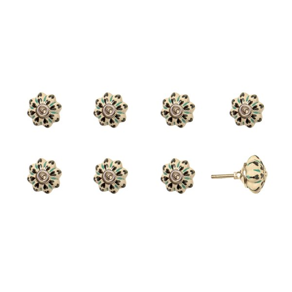 Natural by Lifestyle Brands Handpainted White/Green/Black Ceramic Knobs (8-Pack)
