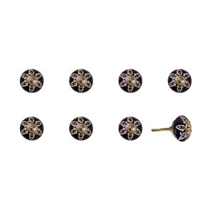 Natural by Lifestyle Brands Handpainted Ceramic Knobs 8 PK Navy/White/Silver