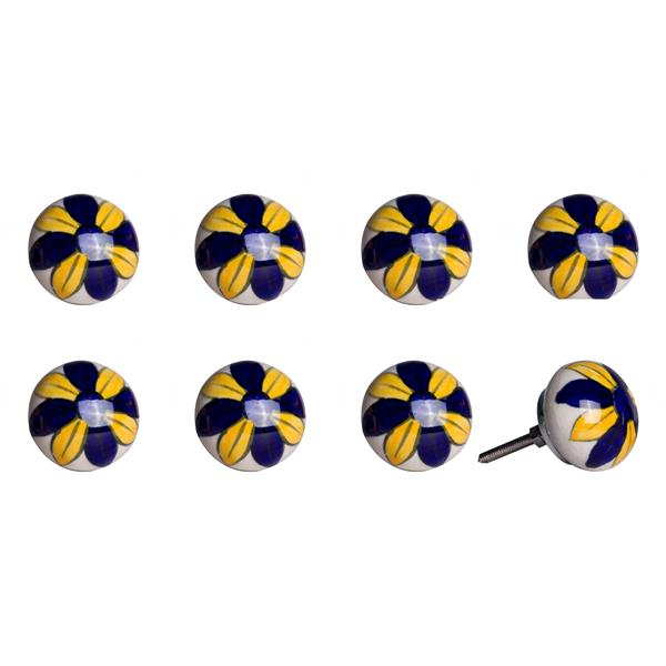 Natural by Lifestyle Brands Handpainted Yellow/Navy/White Ceramic Knobs (8-Pack)