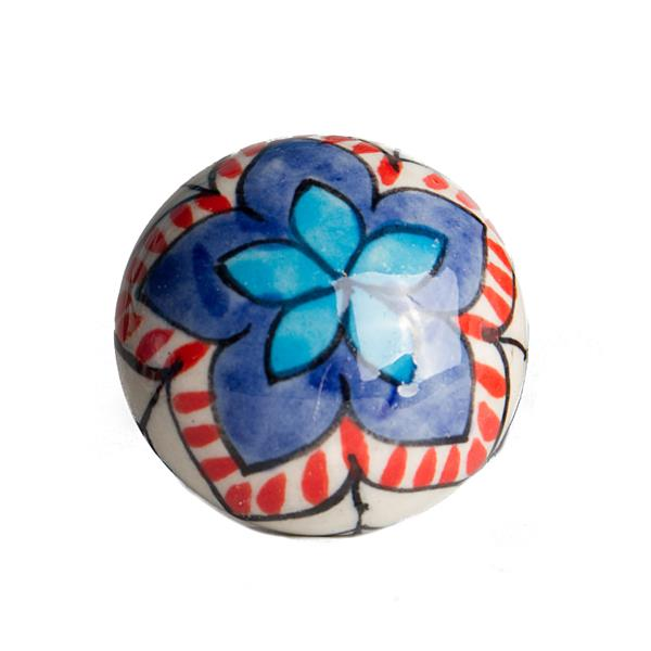 Natural by Lifestyle Brands Handpainted Blue/Orange/White Ceramic Knobs (8 Pack)