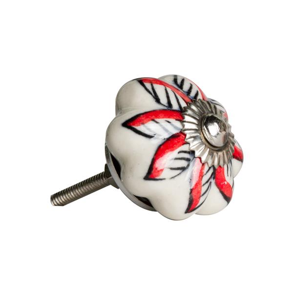 Natural by Lifestyle Brands Handpainted White/Red/Black Ceramic Knobs (8-Pack)