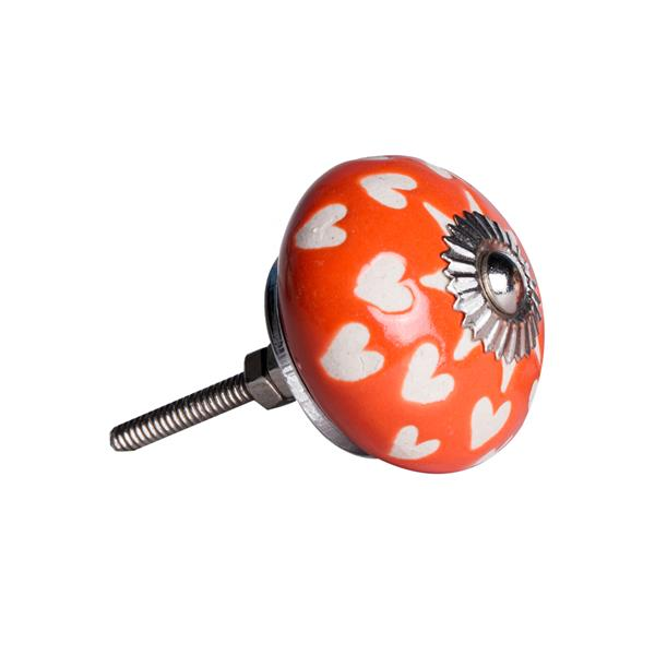 Natural by Lifestyle Brands Handpainted Orange/White/Silver Ceramic Knobs (8 Pack)