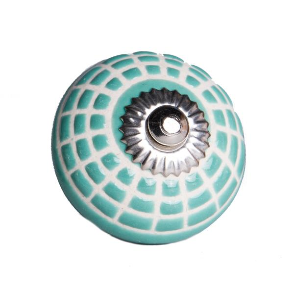 Natural by Lifestyle Brands Handpainted Turquoise/White Ceramic Knobs (8 Pack)