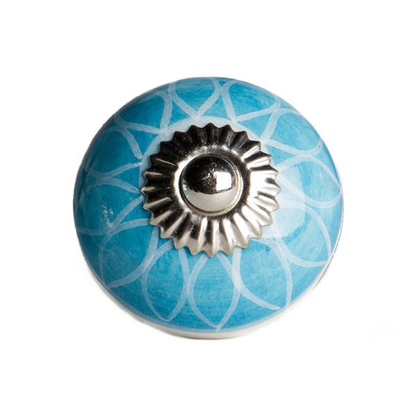 Natural by Lifestyle Brands Handpainted Aqua/White Ceramic Knobs (12 Pack)