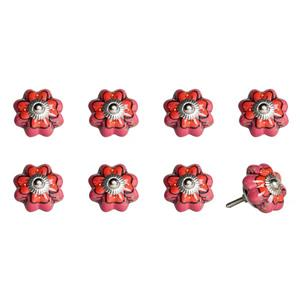 Natural by Lifestyle Brands Handpainted Pink/Red/Green Ceramic Knobs (8 Pack)
