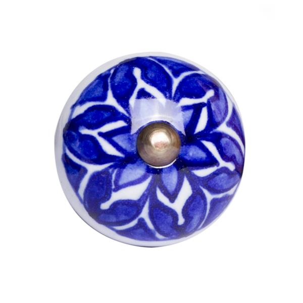 Natural by Lifestyle Brands Handpainted Blue/White Ceramic Knobs (8 Pack)