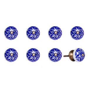 Poignées peinte à la main en céramique, 8 pqt, bleu/blanc