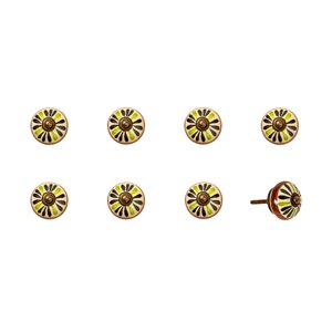 Natural by Lifestyle Brands Handpainted White/Brown/Green Ceramic Knobs (8-Pack)