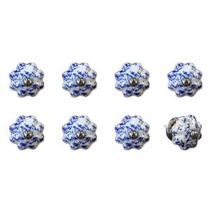 Natural by Lifestyle Brands Handpainted White/Blue/Navy Ceramic Knobs (8-Pack)