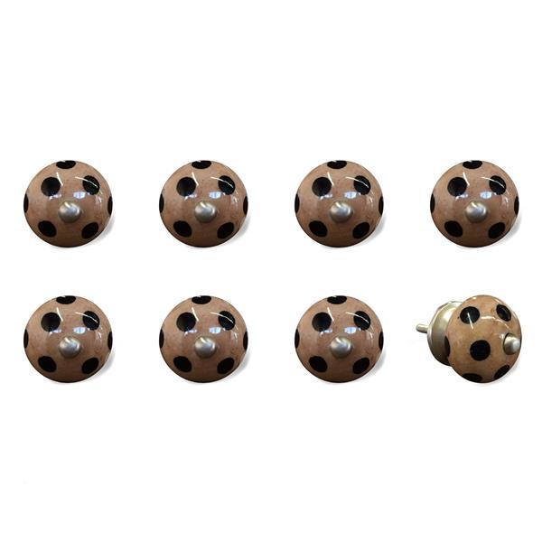 Natural by Lifestyle Brands Handpainted Black/Brown Ceramic Knobs (8 Pack)